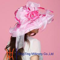 Best Summer Pink Fashion Women Organza Hats For Outing / Traval wholesale