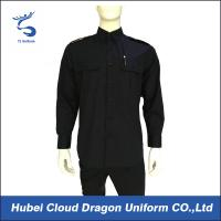 Black 100% Cotton Long Sleeve Work Shirts For Security Guard / Police / Worker