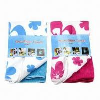 Best Microfiber Towel Set of 2 Pieces, 1 Piece with Printing Pattern and Another Solid Color wholesale