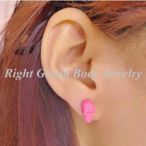 Best Pink Surgical Steel Fake Plug Earrings / Pink Skull Earring wholesale