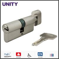Best Flat Key Security Mortice Lock Cylinder EN1303 Key and Turn Satin Chrome Fire Test wholesale