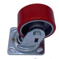 China 200mm 8 Inch Cast Iron Red Pu Caster Wheels  with Precision Bearing and Solid Housing on sale