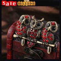 Best Vintage Red Crystal Owl Animal Broches Jewelry Fashion,Crystal Animal Brooches Scarf Clip wholesale