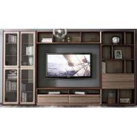 Best 2017 New Walnut Wood Furniture Design Living room Combined TV Wall Units by Tall Cabinets and Floor stand & Hang Racks wholesale
