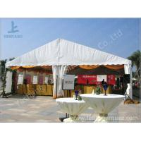 White Roof Cover outside event tents for Golf Villas Sales Conference with orange ripples