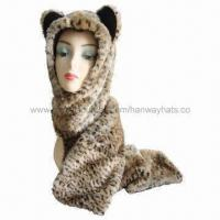 Fashionable Women's Winter Hat with Scarf Set, Fake Fur Front, Earflaps and Fleece Lining