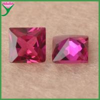 Buy cheap 5# square synthetic loose rough rubies red corundum gemstone for sale from wholesalers
