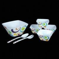 China 7-piece Salad Bowl Set, Durable and Colorful, Made of Melamine on sale