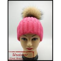 China 2015 new designed women raccoon fur ball twist wool hat ladies fashion winter knitted warm on sale