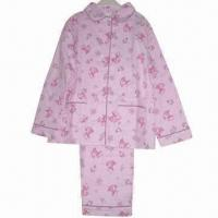 China Girl's 100% Cotton Woven Printed Flannel Pajama Set on sale