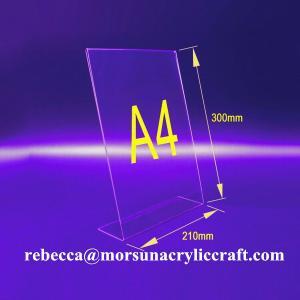 Best L-shape transparent acrylic hotel restaurant nar menu holder stand wholesale