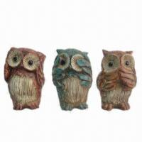 Best Polyresin Crafts in Owl Figurines, Available in Red/Green/Yellow Color Finishing wholesale