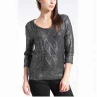 WOMEN'S 100% ACRYLIC FOIL PRINT CABLE KNITTED SWEATER