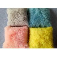 Best Long hair curly mongolian sheep fur cushion Tibetan Lambswool fur Throw Pillow wholesale