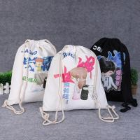 Best Drawstring Shoe Pouch Reusable Cotton Shopping Bags Offset Printing wholesale