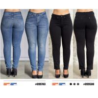 China Comfortable Plus Size Ladies Slim Fit Trousers In Navy Blue Or Black Color With Pockets on sale