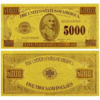 China US 5000 Dollar America Gold Banknote Gold Plated Banknote Gift on sale