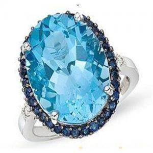 China Blue topaz & sapphire diamond ring on sale