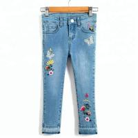 Best Long Kids Denim Clothes Baby Girl Denim Pants With Flower Embroidered Decor wholesale