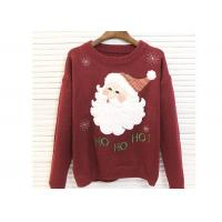 Round Neck Acrylic Lady Ugly Christmas Sweater Embroidered Pattern For Women