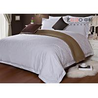 Best Ripple Satin Design Hotel White Bed Linen 100 Cotton With 300TC 115GSM wholesale
