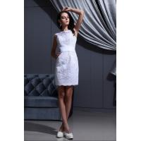China Elegant Above Knee Length Short Dresses With Belt for Young Ladies , White on sale
