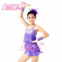 Best Biketard Confetti Sequin Fringe Dress Kids Purple Latin Dance Costumes wholesale