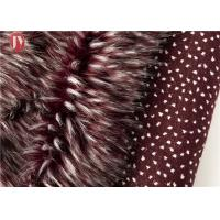 China Wine Red Fake Fur Fabric , Ostrich Feathers Light Brown Faux Fur Animal Jacquard on sale