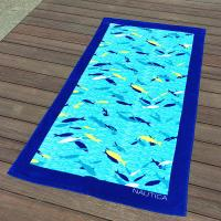 Best Blue Fish Printed Beach Towels 100% Combed Cotton Fabric Quick Dry wholesale