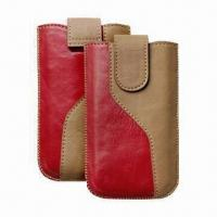 Best Leather Mobile Phone Pouches with Hidden Magnetic Button and Retractable Pull-tab wholesale