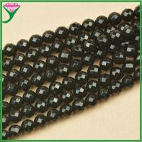 Best good quality 8mm natural faceted round black agate gemstones stones for bracelet wholesale
