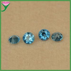 Best Wholesale price gemstone 6mm round diamond cut natural blue topaz wholesale
