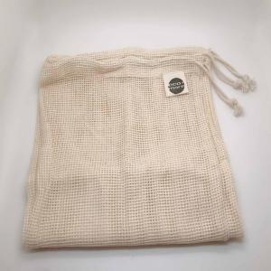 China Drawstring Reusable Label Logo Organic Cotton Mesh Bag on sale