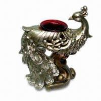 Best Peacock Tealight Holder with 1 Piece Red Glass Cup, Made of Polystone in Champagne Finish wholesale