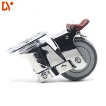 Best Shock Absorption Industrial 3 Inch Caster Wheels Chromium Plating Swivel Lock wholesale