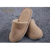 China Cotton Coral Disposable Personalized Hotel Slippers With Eva Sole on sale