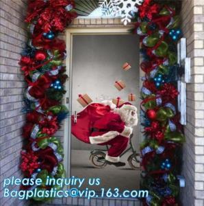 China indoor & outdoor door poster PE plastic window cover for halloween christmas decoration,Door Poster Christmas Gift Decor on sale