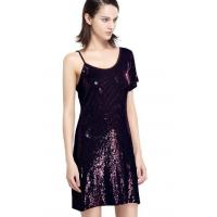 Best Sequin Embroidery Bling Bling Party Dresses , One Shoulder Club Dress Going Out Wear wholesale