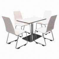 Best Laminated Melamine Restaurant Tables and Chairs with Chrome or Powder-coated Chair Legs wholesale