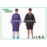 China Disposable Spa Robes Nonwoven Material Made PP Kimono , Black / Purple on sale