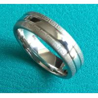 Best 7mm Center Shiny Double Great Wall Pattern Grooves Dome Cobalt Chrome Wedding Band Ring wholesale