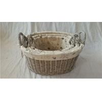 China large oval willow wicker laundry basket with lid and liner on sale