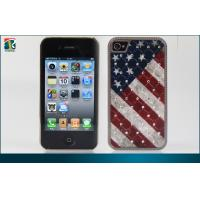 Best Bling Hard  Flag  Iphone 4 Protective Cases Custom Durable PC and Leather Sticker wholesale