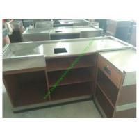 Best Coffee Bar And Supermarket Checkout Counter Table / Metal Cash Wrap Counter wholesale