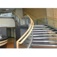 China Prefab Apartment Building Curved Stairs Clear Finish , Arc Shaped on sale