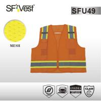 China 100% polyester mesh safety workwear reflective safety vest with many pockets ANSI/ISEA 107-2010 on sale