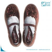 Best fashionable leather Anna-Ballet children shoes with brown for girls AB-A91002BR wholesale