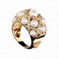 Best Silver Pearl Ring, Made of CZ and Sterling Silver, Gold -plated wholesale