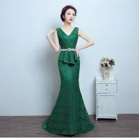 Best Green Sexy summer long Party Dresses for Women, V neck-line prom dresses LXLSQ-1260 wholesale