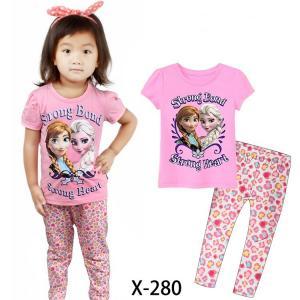 China Pink Girl Frozen Summer Pajamas Set Clothes set X-359 on sale